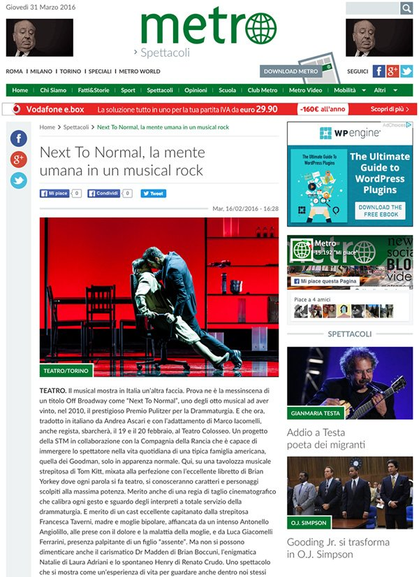Fotografia di Gaetano Cessati per l'articolo su Next To Normal sul quotidiano Metro