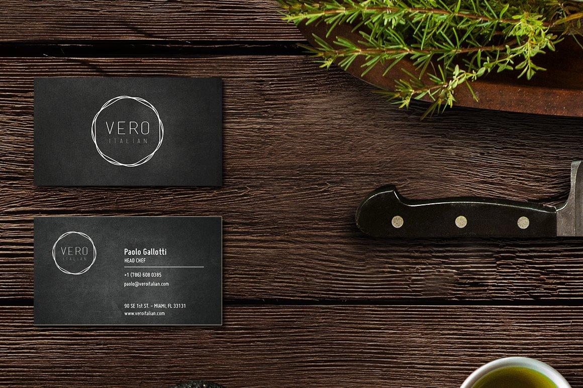 Immagine coordinata per il ristorante Vero Italian