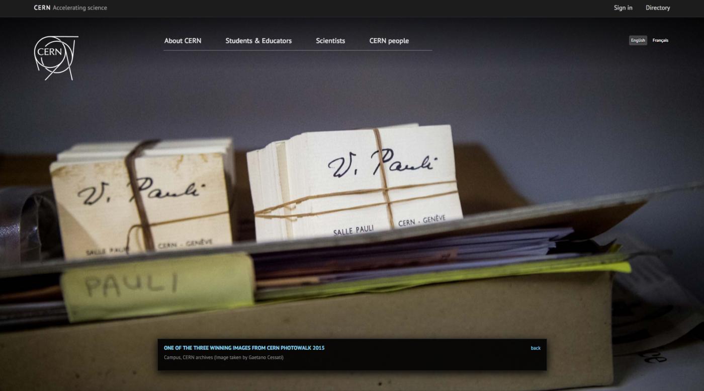 Screenshot dell'homepage del sito del CERN