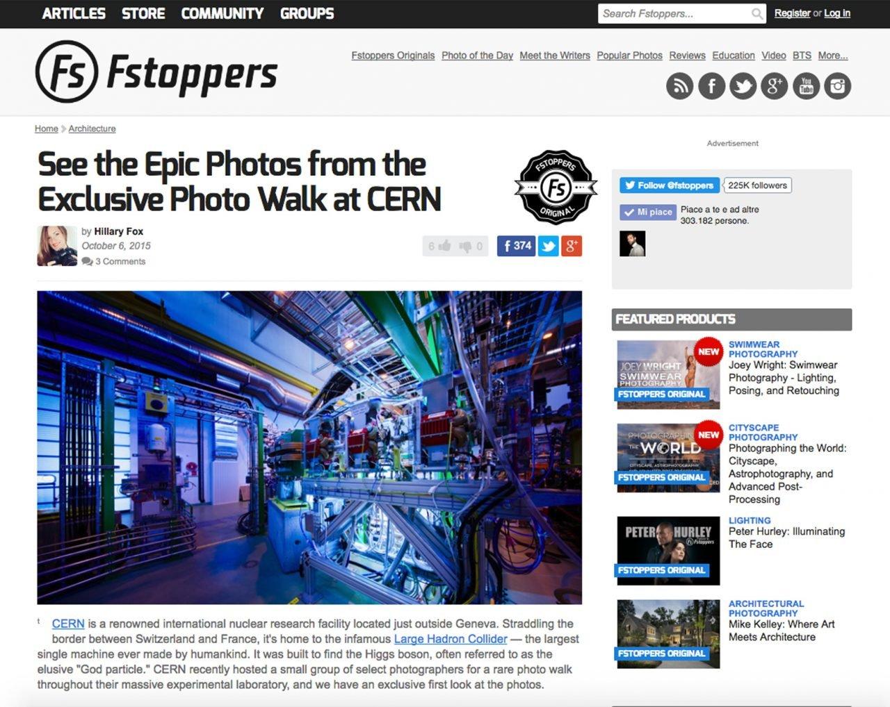 """Screenshot del blog americano Fstoppers.com riguardante l'articolo """"See the Epic Photos from the Exclusive Photo Walk at CERN"""" scritto da Hillary Fox"""