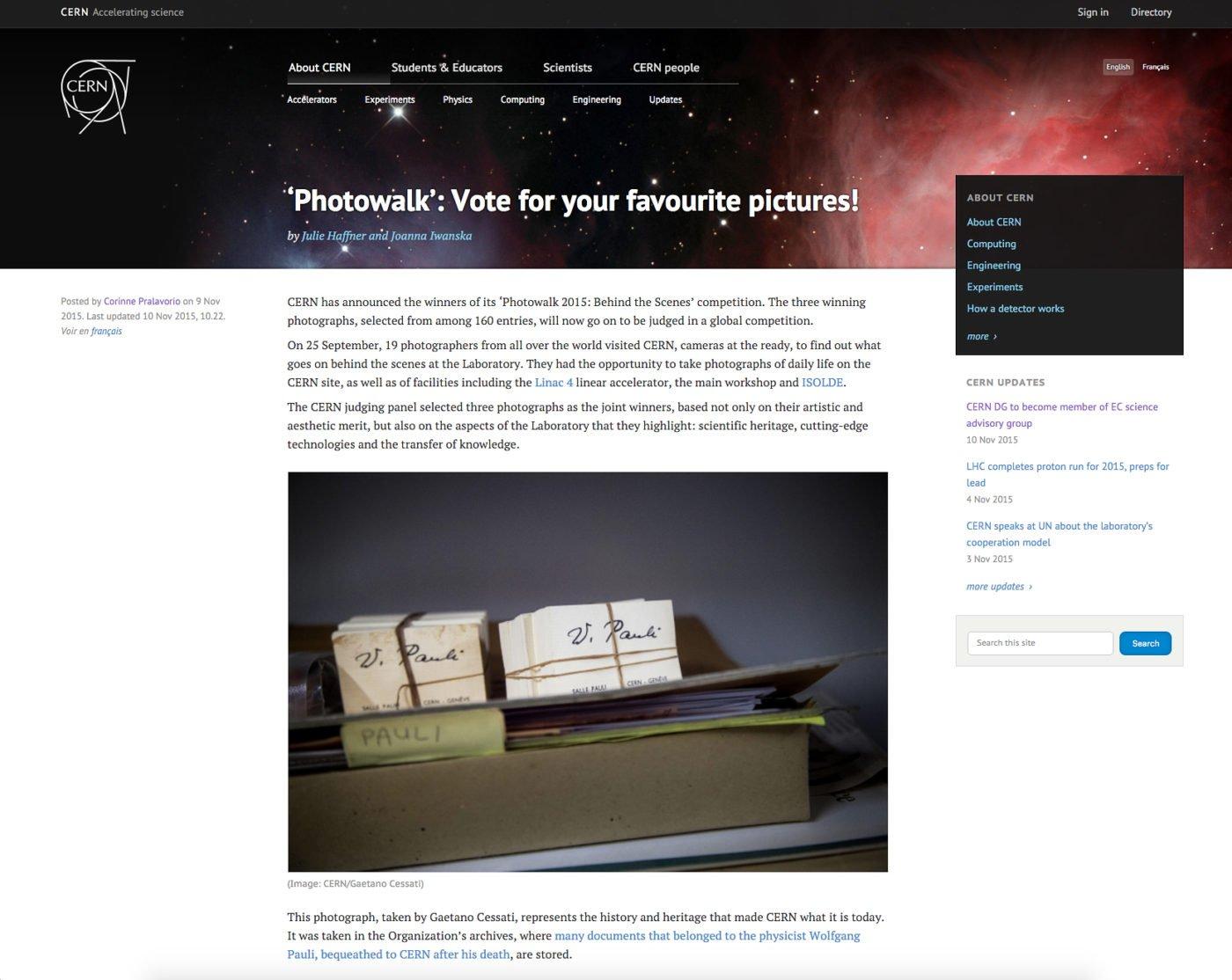 Screenshot dal sito del CERN. Articolo in cui vengono annunciate le tre foto finaliste per il GLOBAL PHYSICS PHOTOWALK 2015
