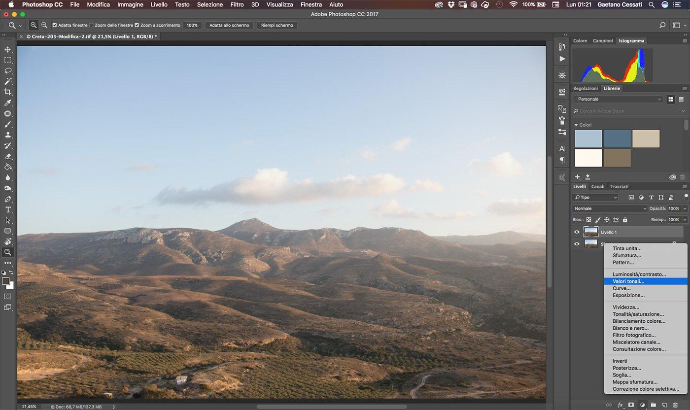 Migliorare foto paesaggio con curve automatiche