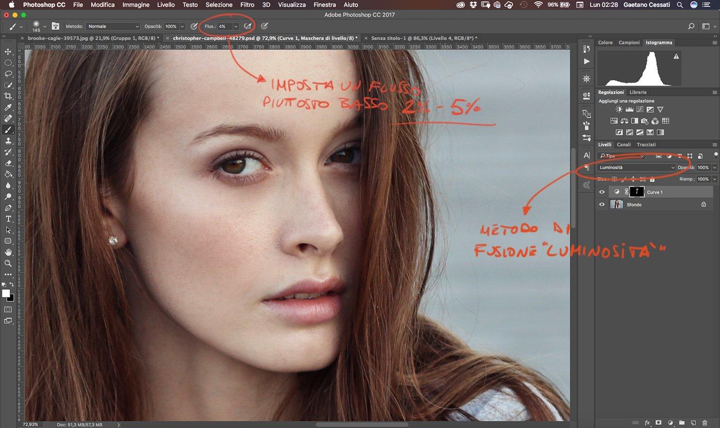 Photoshop Tutorial Italiano - Dodge and Burn - Imposta un flusso intorno al 2% - 5% per il pennello
