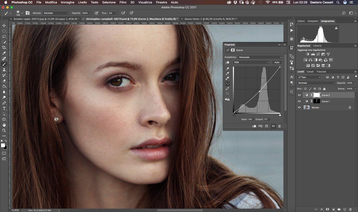 Photoshop Tutorial Italiano - Dodge and Burn - Diminuisci l'esposizione con le Curve e inverti la maschera