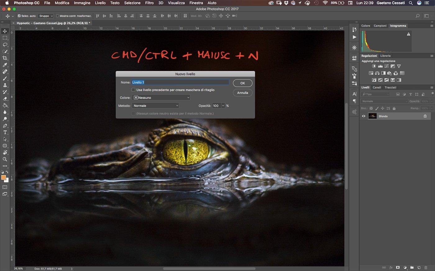 Shortcut - come creare un nuovo livello in Photoshop