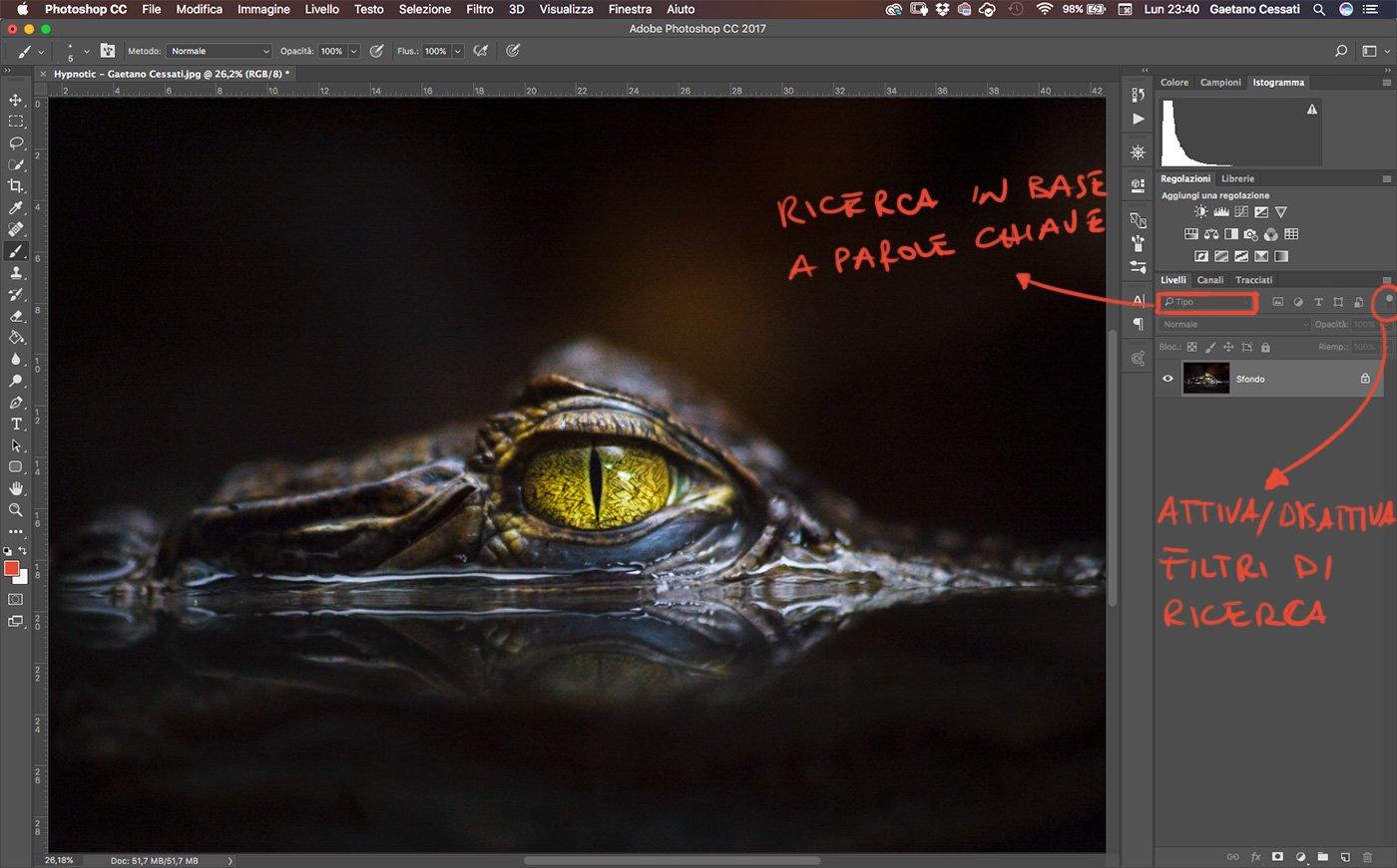 attiva e disattiva i filtri di ricerca dei livelli di photoshop