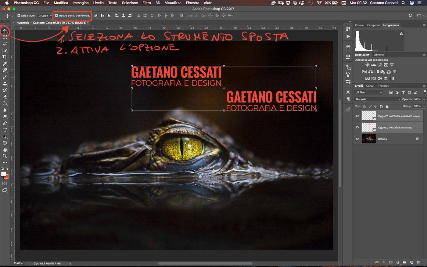 attivare l'opzione mostra contorno di trasformazione dei livelli selezionati di Photoshop