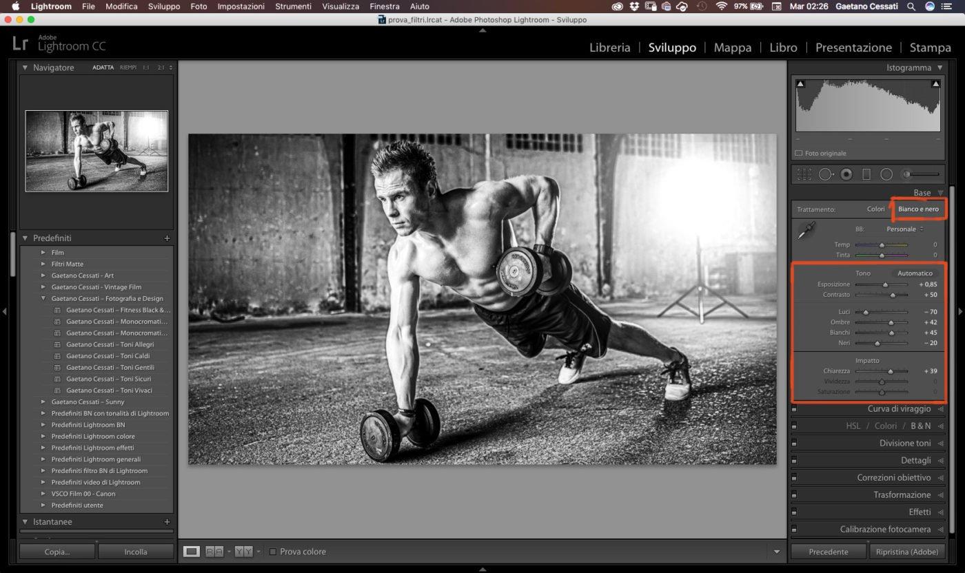 Come ottenere fotografie in bianco e nero con lightroom 1
