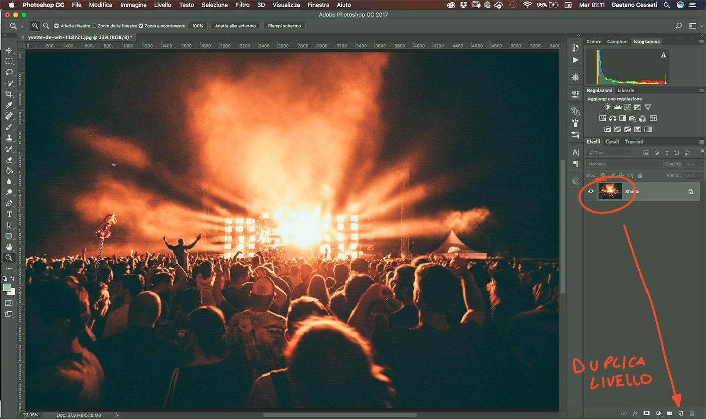 1 - come ridurre il rumore di una fotografia con photoshop - duplica livello