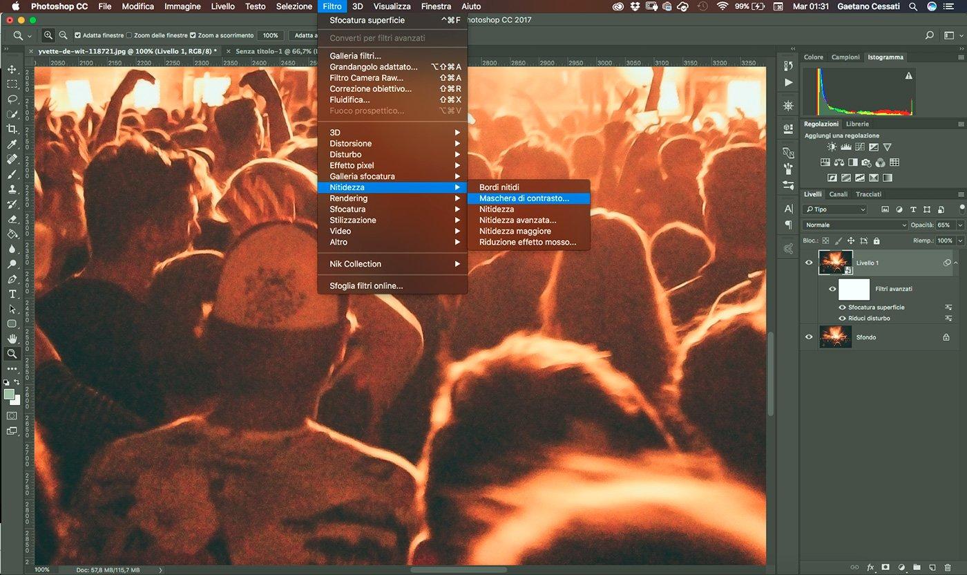 10 - come ridurre il rumore di una fotografia con photoshop - applica maschera di contrasto