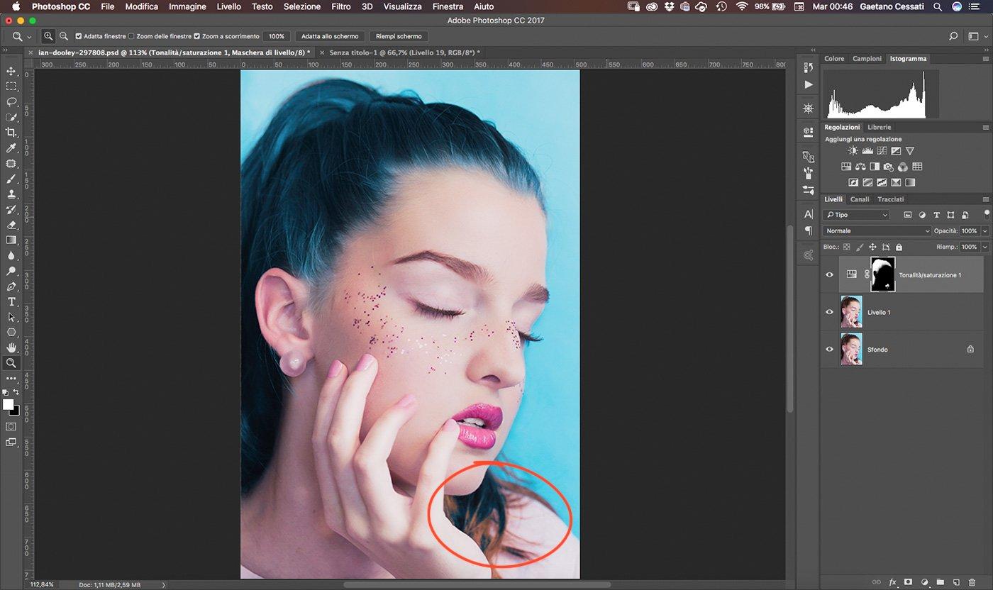 14 Come cambiare colore ai capelli con Photoshop - rifinire capelli