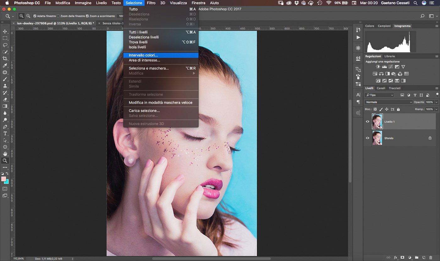 2 Come cambiare colore ai capelli con Photoshop - intervallo colori