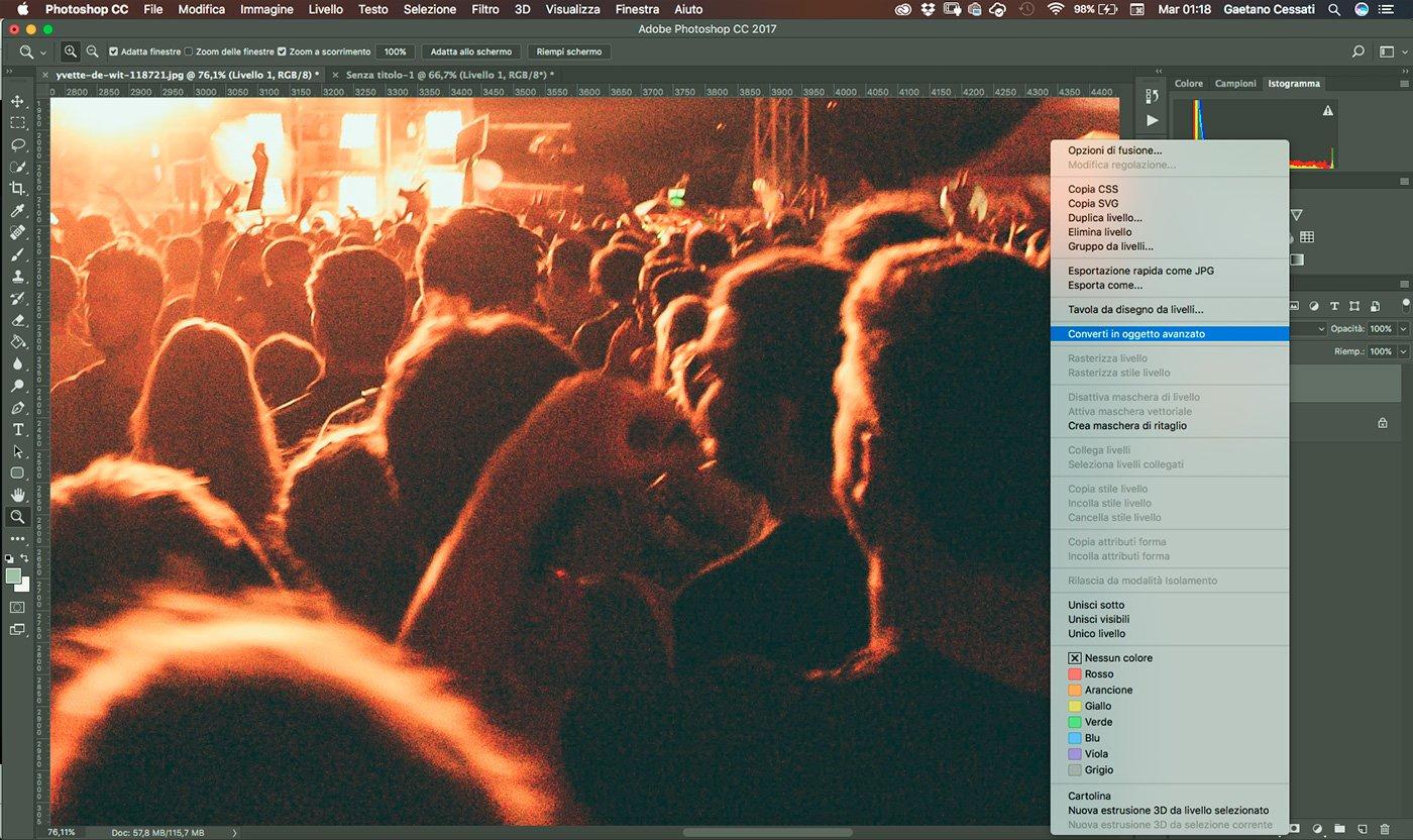 2 - come ridurre il rumore di una fotografia con photoshop - converti in oggetto avanzato
