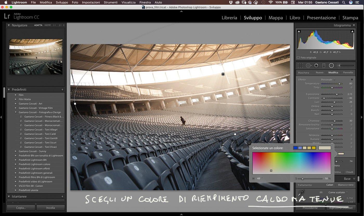 3 - Come enfatizzare la luce di una fotografia con Lightroom - Filtro Radiale aggiungi colore