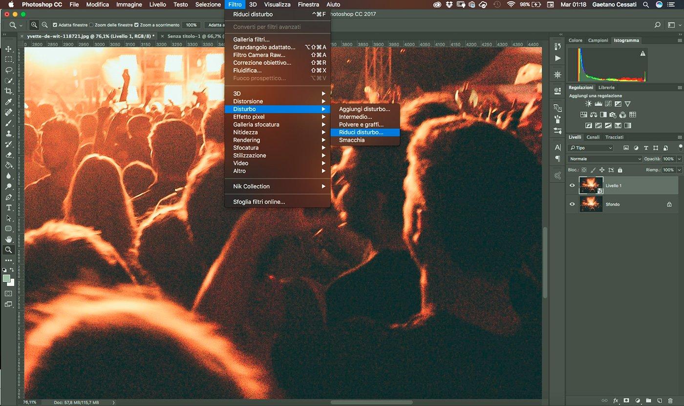 3 - come ridurre il rumore di una fotografia con photoshop - applica il filtro riduci disturbo