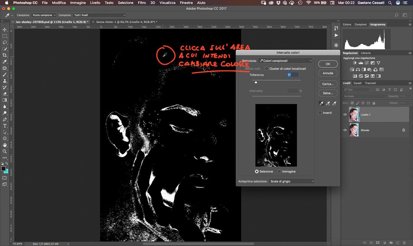 4 Come cambiare colore ai capelli con Photoshop - intervallo colori