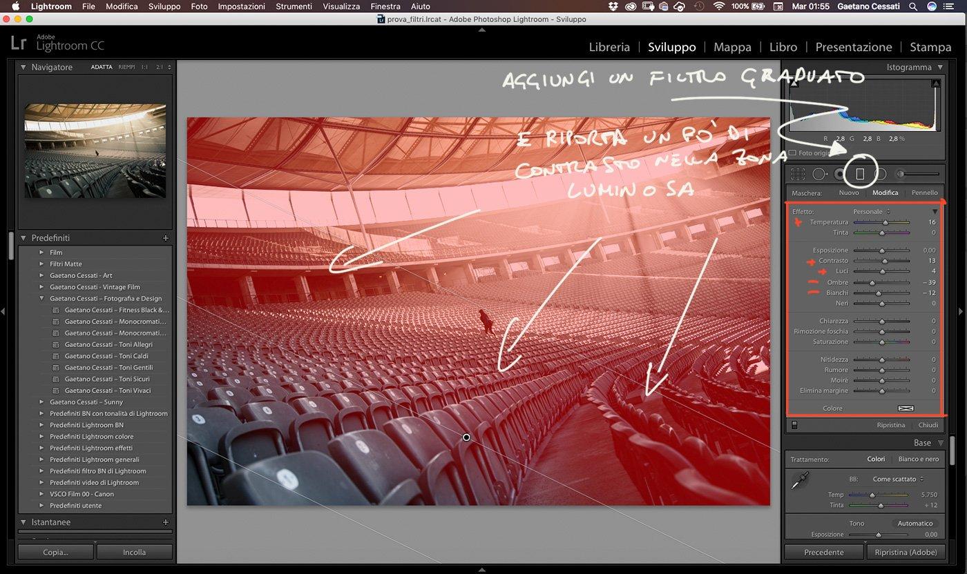 4 - Come enfatizzare la luce di una fotografia con Lightroom - Filtro Graduato