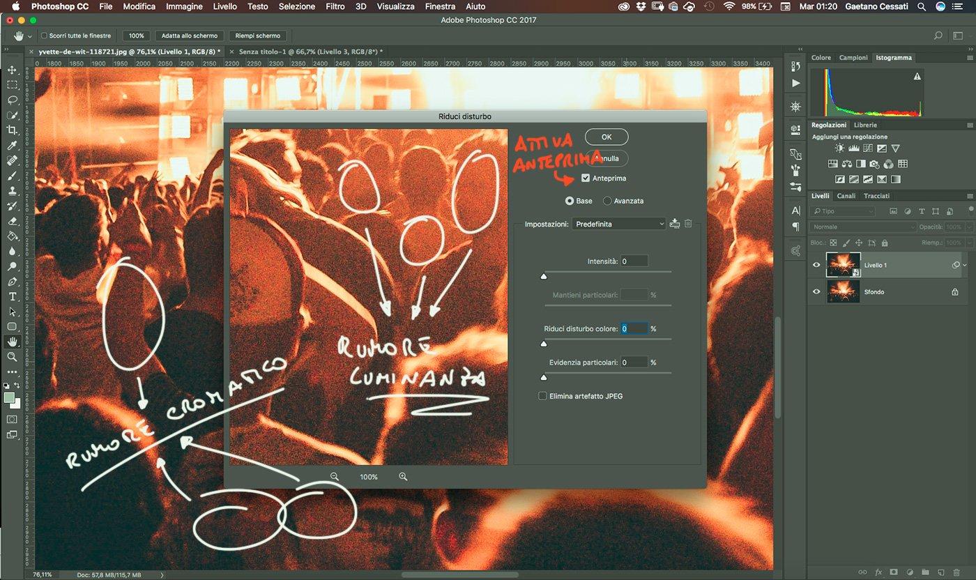 4 - come ridurre il rumore di una fotografia con photoshop - finestra di dialogo del filtro riduci disturbo