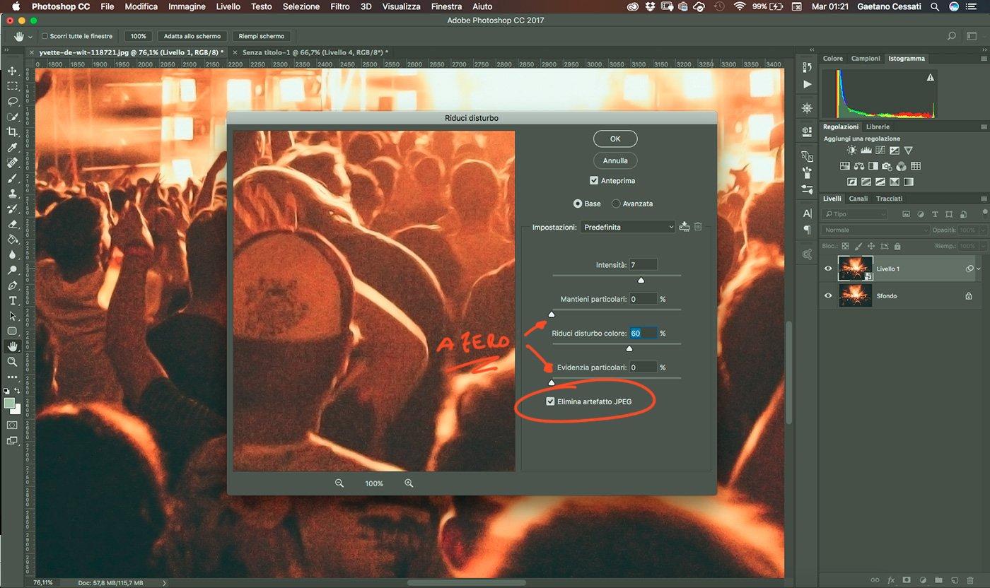 5 - come ridurre il rumore di una fotografia con photoshop - come applicare riduci disturbo