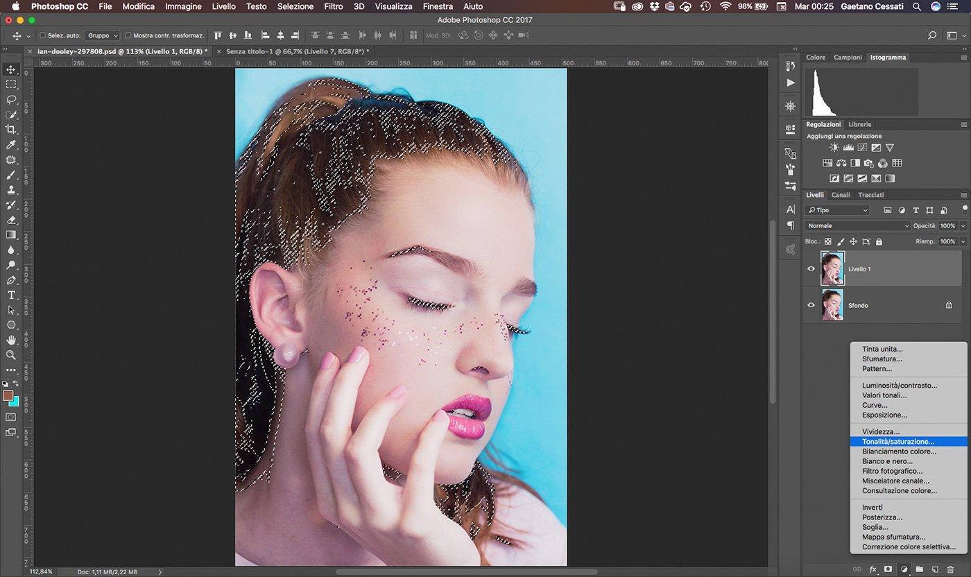 6 Come cambiare colore ai capelli con Photoshop - tonalita saturazione