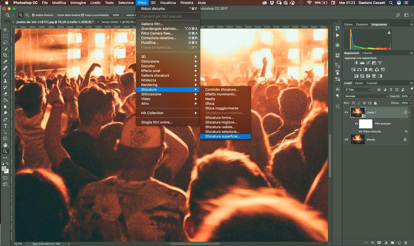 6 - come ridurre il rumore di una fotografia con photoshop - Applica il filtro sfocatura superficie