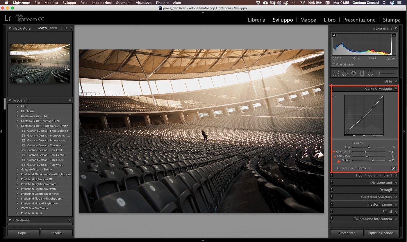 7 - Come enfatizzare la luce di una fotografia con Lightroom - Ritocchi pannello curve