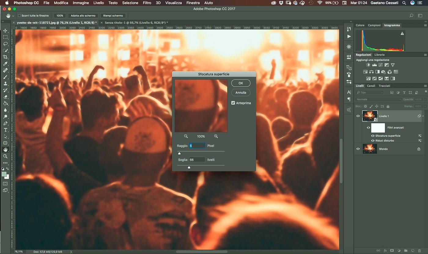 7 - come ridurre il rumore di una fotografia con photoshop - Applica il filtro sfocatura superficie
