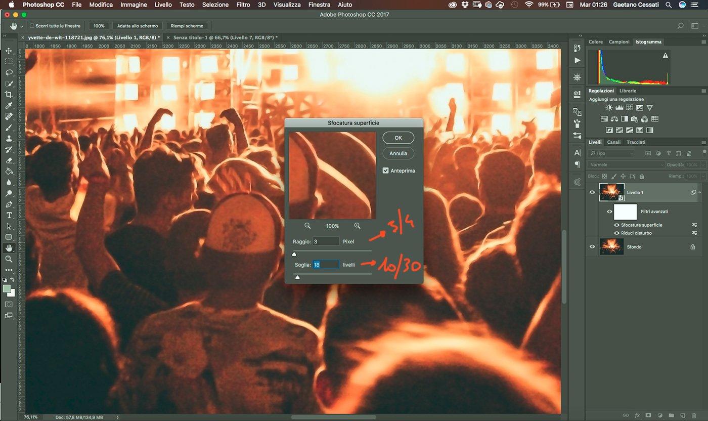 8 - come ridurre il rumore di una fotografia con photoshop - Applica il filtro sfocatura superficie