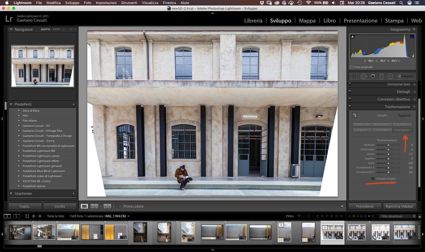 come raddrizzare la prospettiva di una fotografia con Lightroom