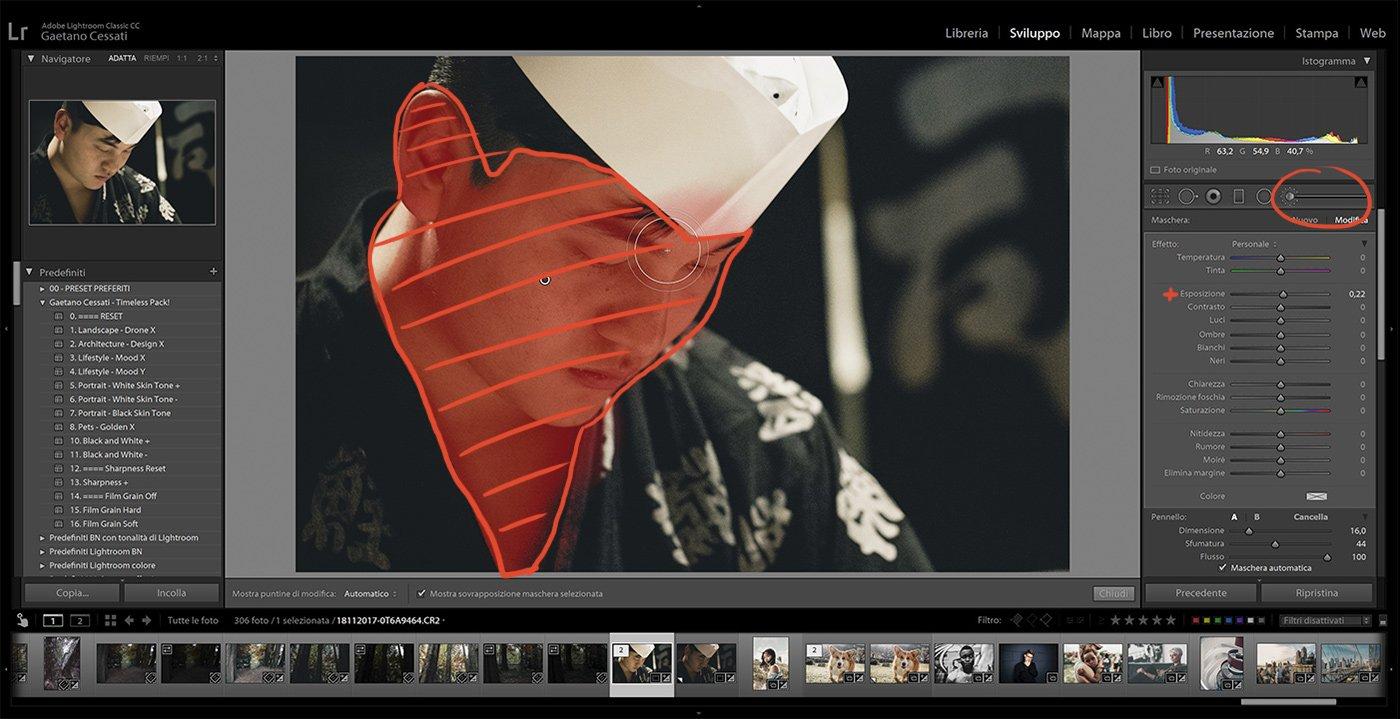 11. Come usare i preset con Lightroom Classic - come usare il pennello di regolazione