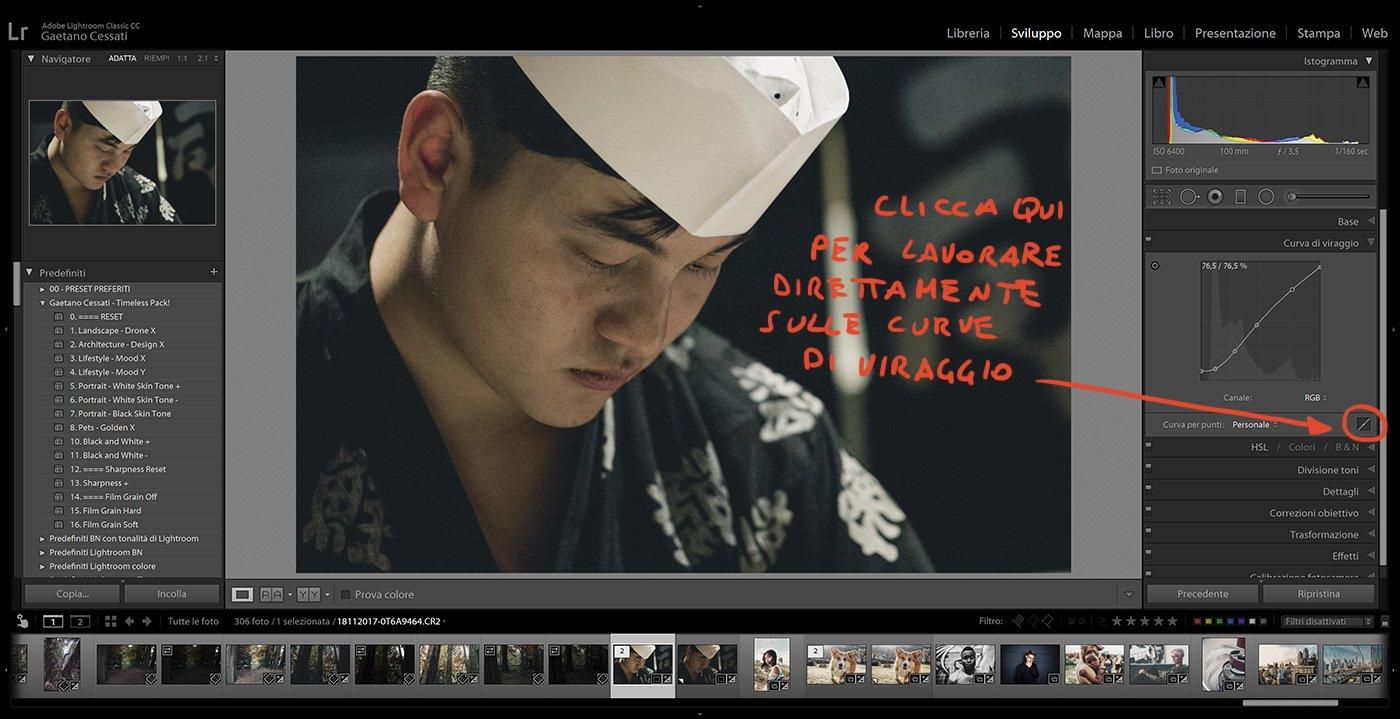 7. Come usare i preset con Lightroom Classic - modificare il contrasto con le curve di viraggio